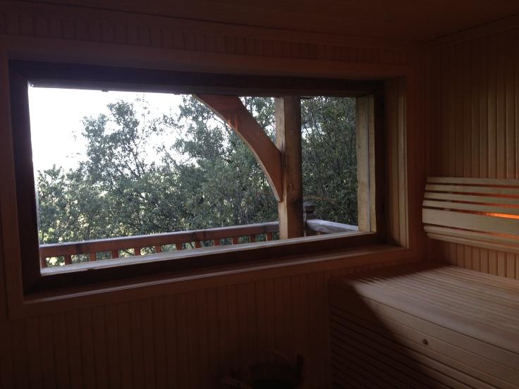 Sauna avec vue directe sur le paysage